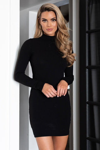Take The Plunge Black Skater Dress