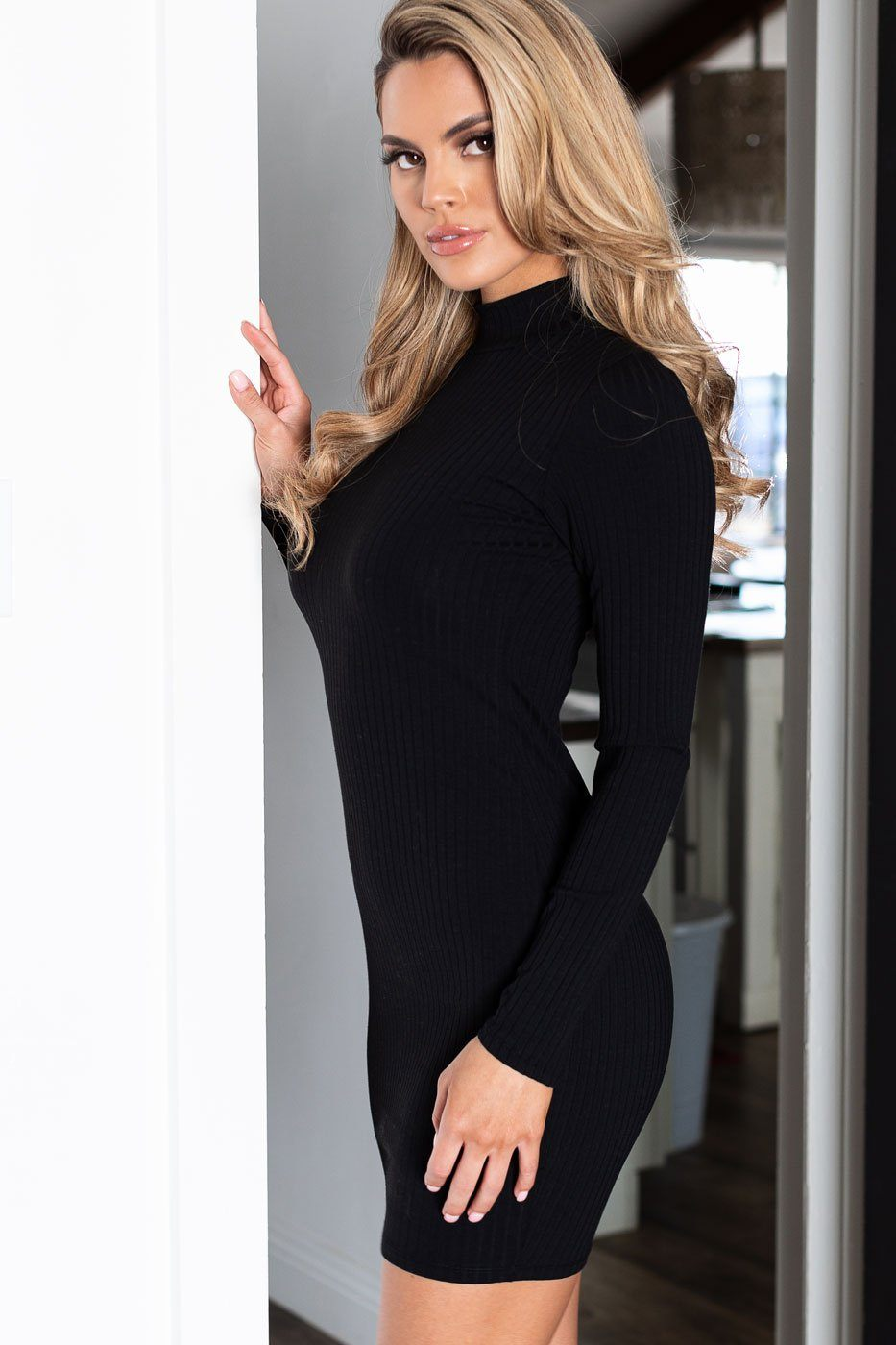 Mona Black Ribbed Mock Neck Bodycon Dress