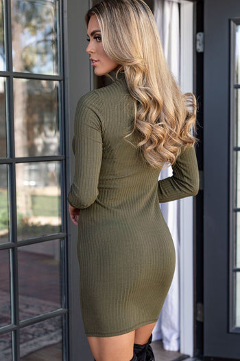 Olive Ribbed Mock Neck Bodycon Dress