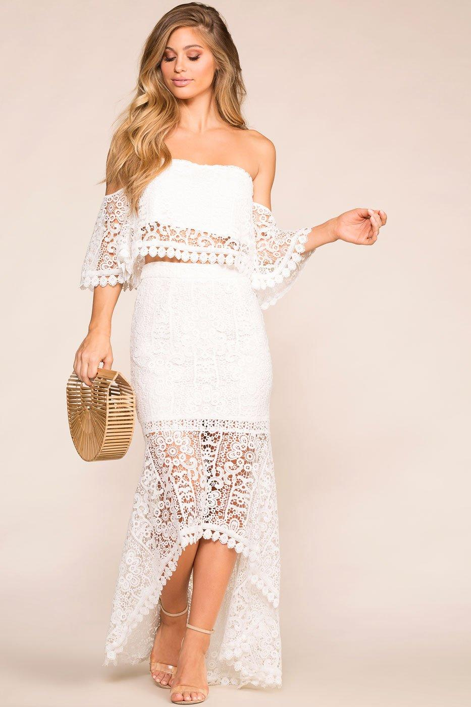 0f22b71651c Monet White Crochet High Low Maxi Skirt
