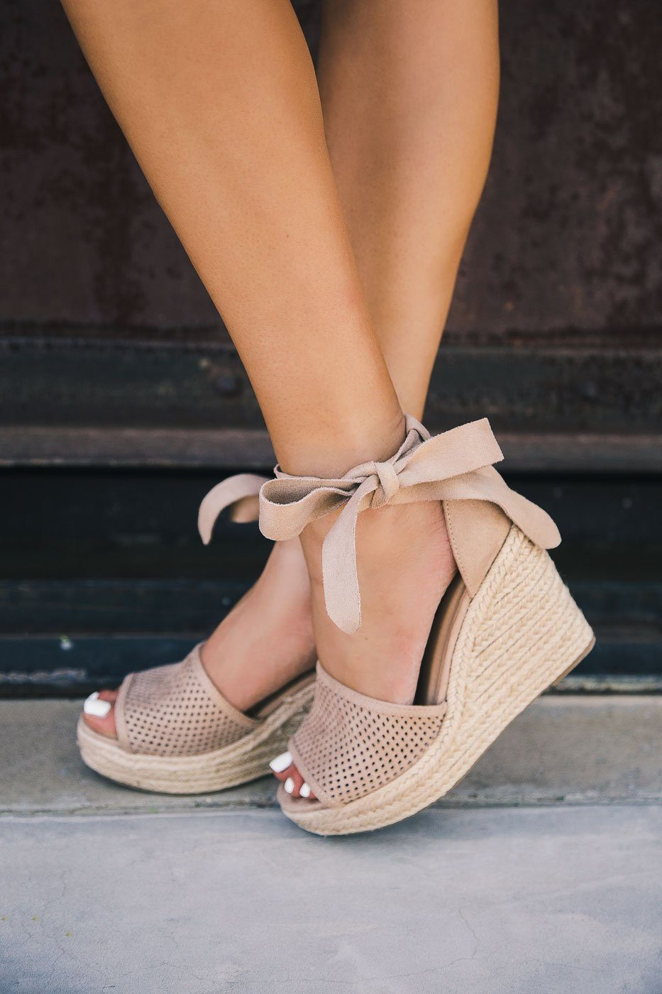 Monroe Taupe Wrap Wedges | Lets See Style