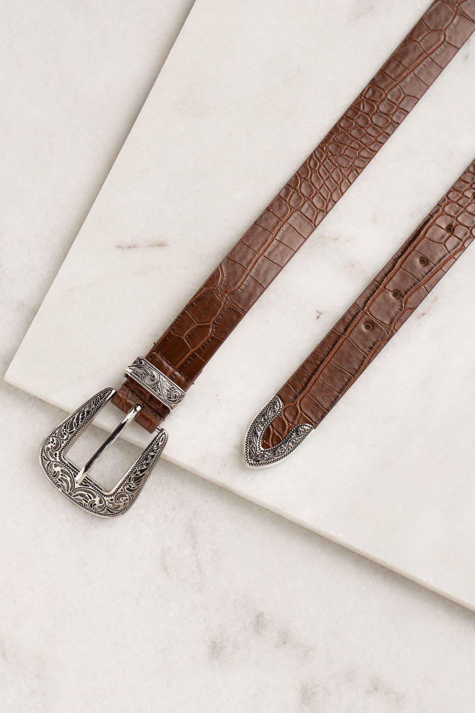 Brown Buckle Belt with an Engraved, Antique Silver Buckle