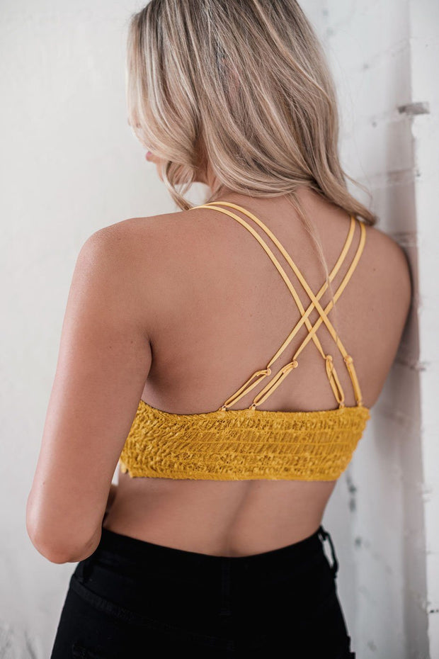 Mustard Floral Lace Bralette