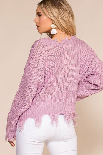 Priceless | Lavender | Sweater | Oversized | Distressed Sweater | Womens