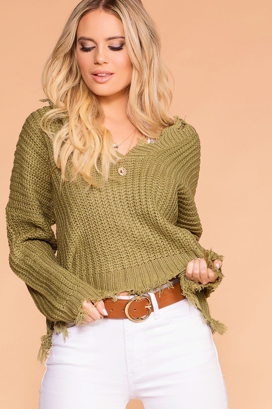 66d3cad3269f ... Shop Priceless   Olive   Oversized   Distressed Sweater   Womens ...
