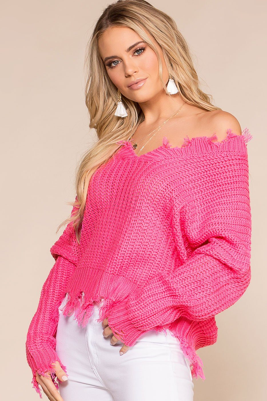 c944f37505e Moving On Pink Knit Distressed Sweater