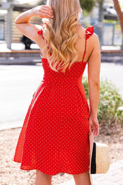 Red Dotted Button-Up Midi Dress