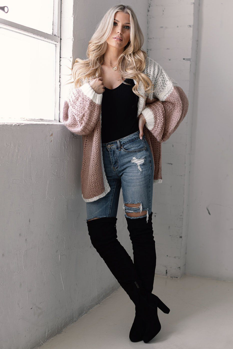 Taupe Colorblock Chunky Knit Cardigan