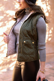 Olive Puffy Quilted Vest