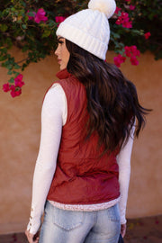 My Lane Rust Puffy Quilted Vest