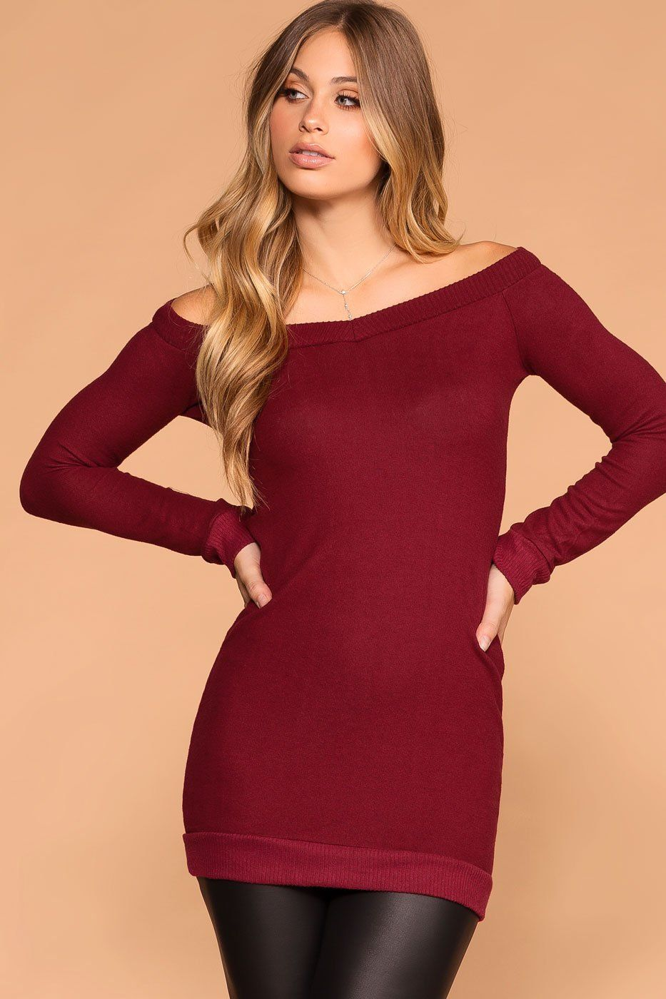 e602489c0414 My Way Burgundy Sweater Tunic
