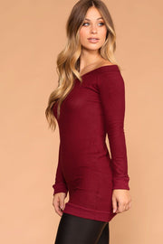 Priceless | Burgundy | Sweater Tunic| Off the Shoulder | Womens