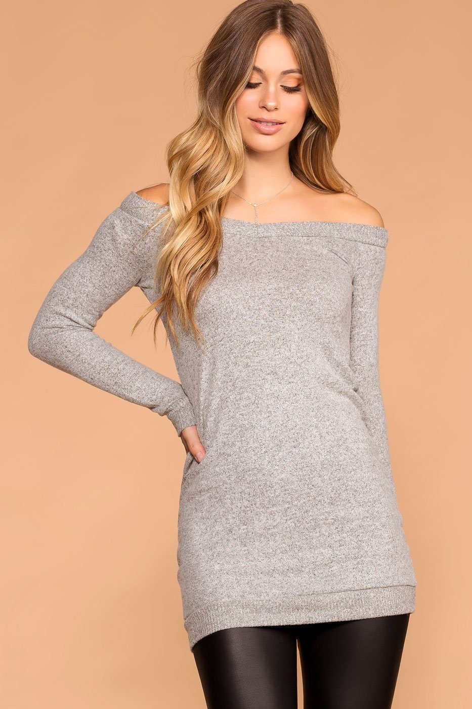 Priceless | Heather Grey | Sweater Tunic | Off the Shoulder | Womens