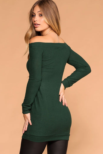 Priceless | Pine Green | Sweater Dress | Off the Shoulder | Womens
