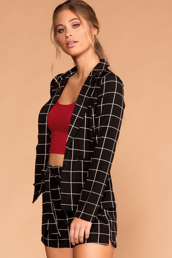 Black | Grid | Blazer | Womens | Priceless