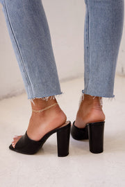 Black Slide On Heels