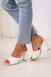 Nadine White Slide On Heels