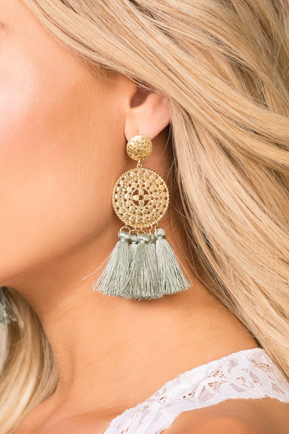 Priceless | Mint | Tassel Earrings | Gold Earrings | Womens