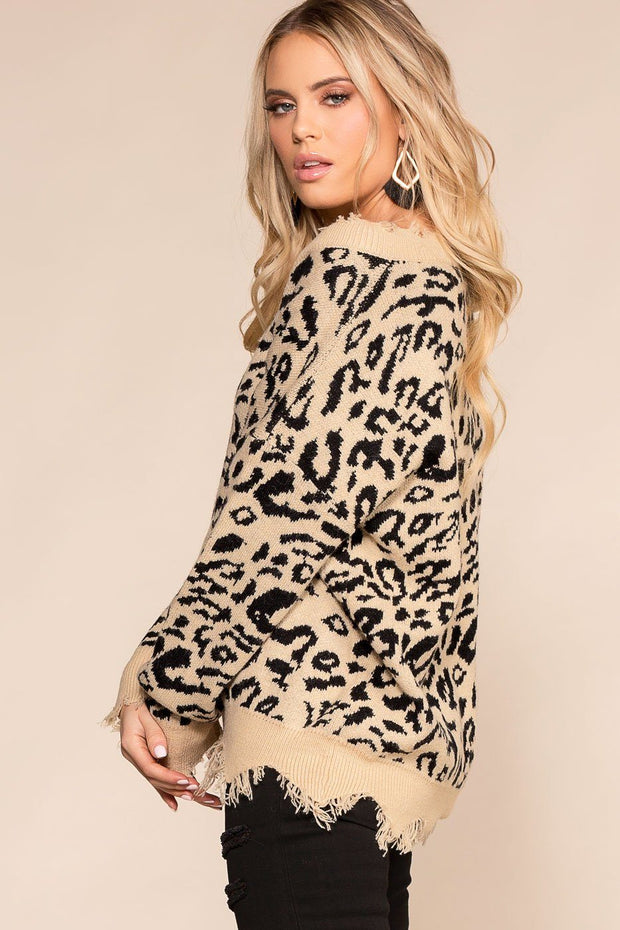 Priceless | Tan | Leopard Print | Distressed Sweater | V-Neck | Womens