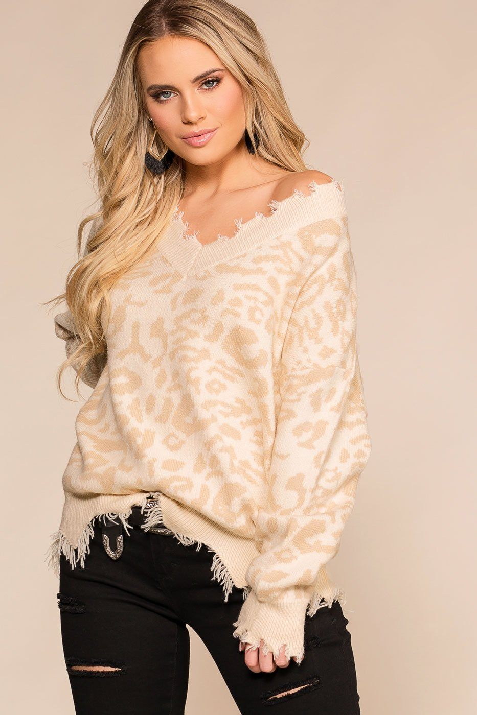 Shop Priceless | Ivory |  Leopard | Distressed Sweater | Womens