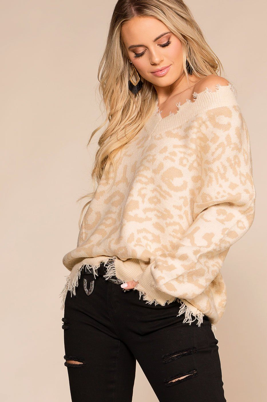 Priceless | Ivory | Leopard Print | Distressed Sweater | V-Neck | Womens