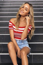 Lock It Down Stripe Crop Top - Red