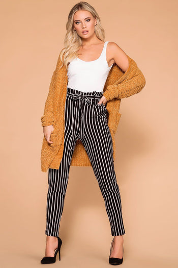 Priceless | Black Stripe | Tie-Front Pants | High Waisted | Womens