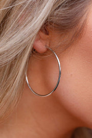 Never Ending Silver Hoop Earrings