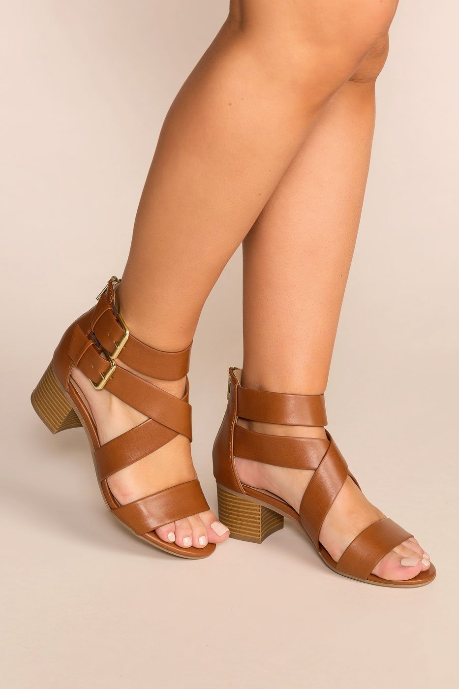 Never Forgotten Tan Low Block Heels | Fortune Dynamic