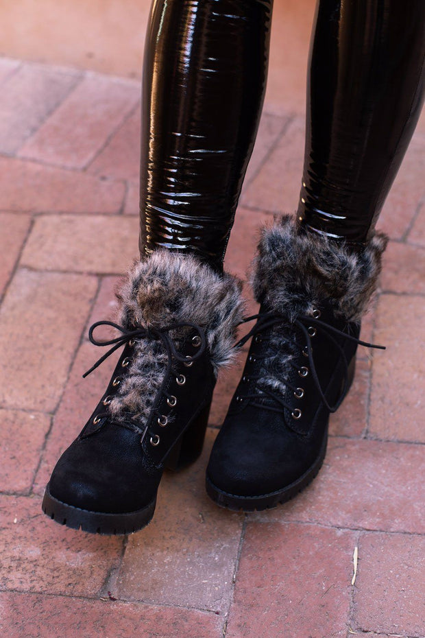 Black Faux-Fur Trim Boots