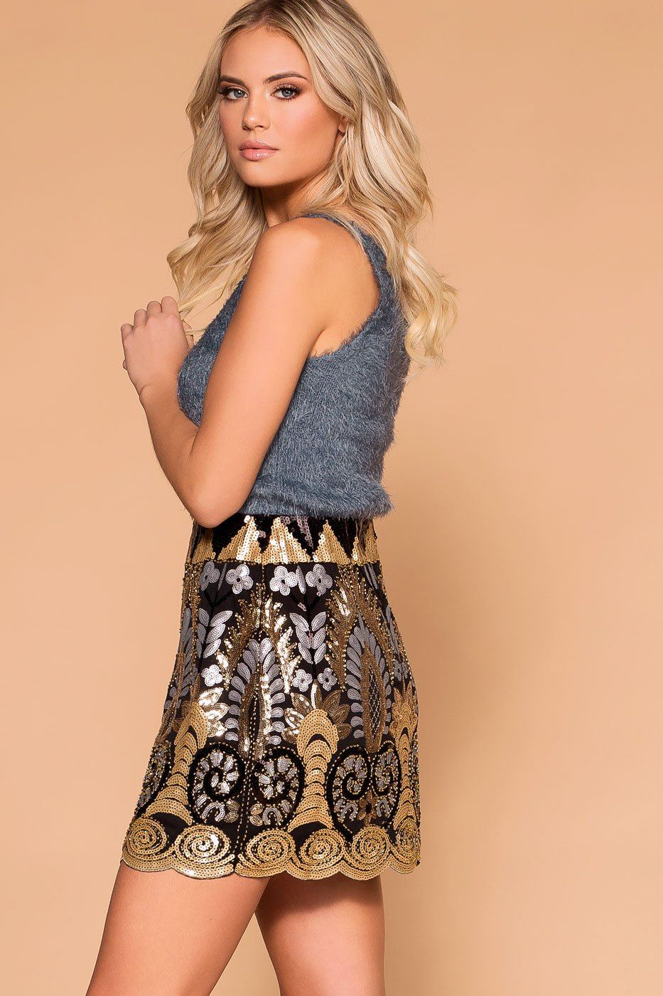 Priceless | Black | Gold | Sequin Mini Skirt | Womens