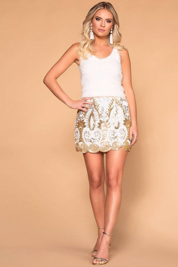 Priceless | White | Gold | Sequin Mini Skirt | Womens