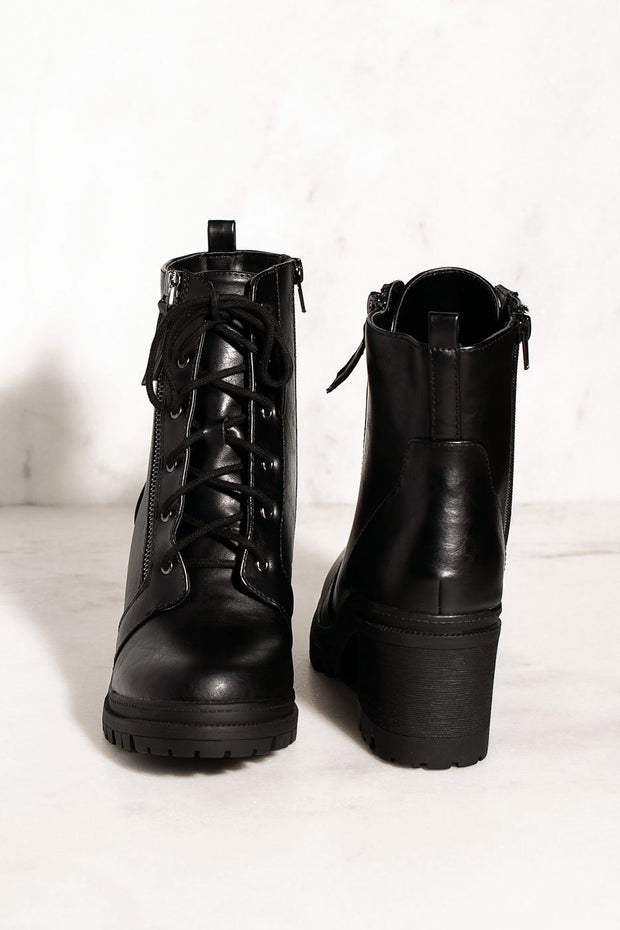 Lace Up Black Combat Booties
