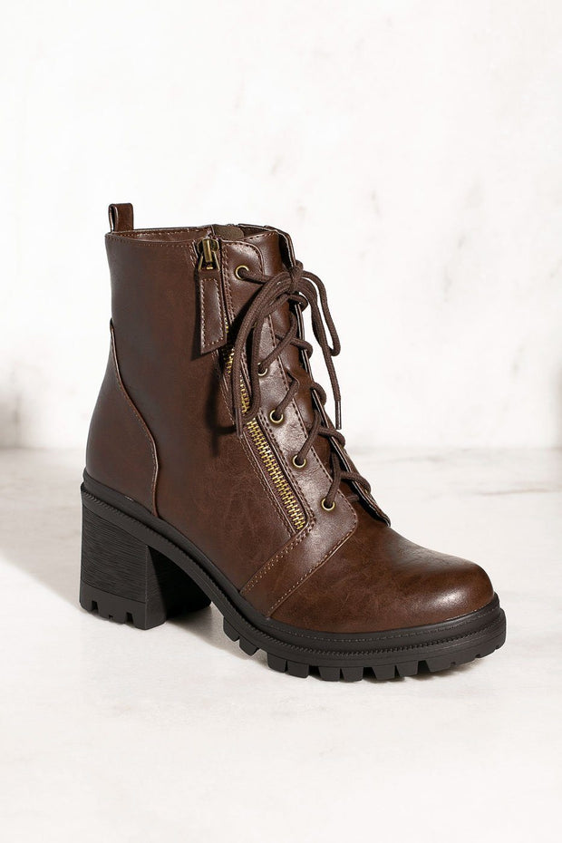Lace Up Combat Chocolate Booties