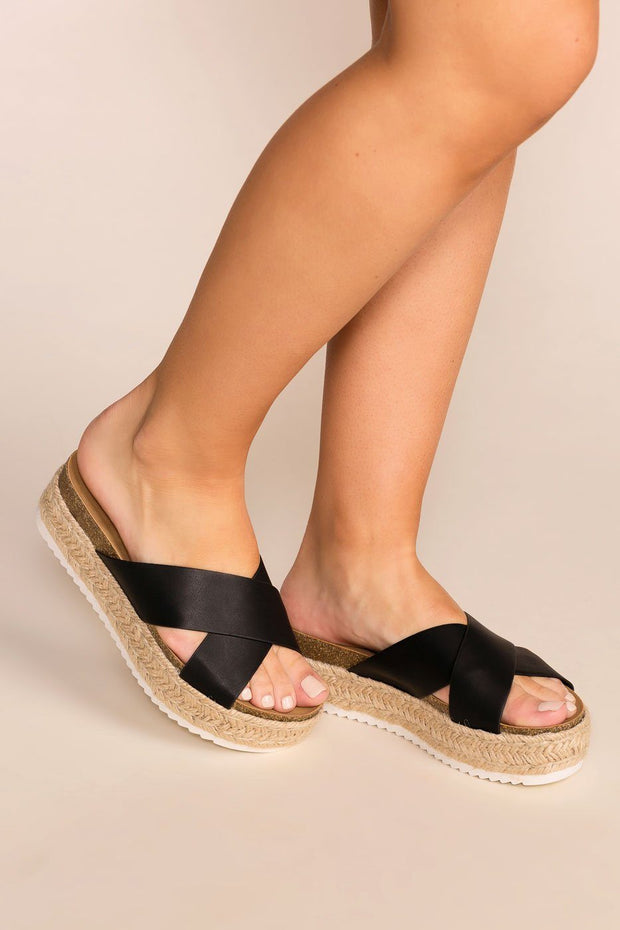 Priceless | Black | Slide-On | Platform Sandals | Shoes | Womens