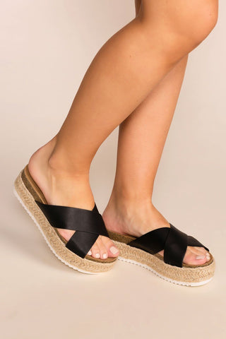Lucy Black Pointed Toe Slides