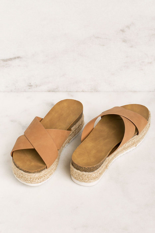 Priceless | Tan | Slide-On | Platform Sandals | Shoes | Womens