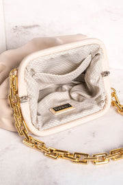 No Problems Beige Gold Chain Clamshell Purse