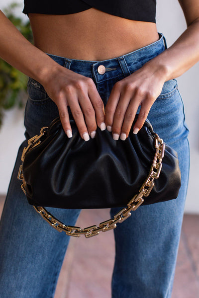 Black Gold Chain Clamshell Purse