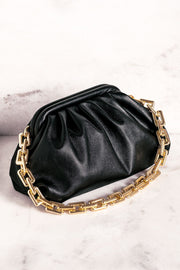 No Problems Black Gold Chain Clamshell Purse