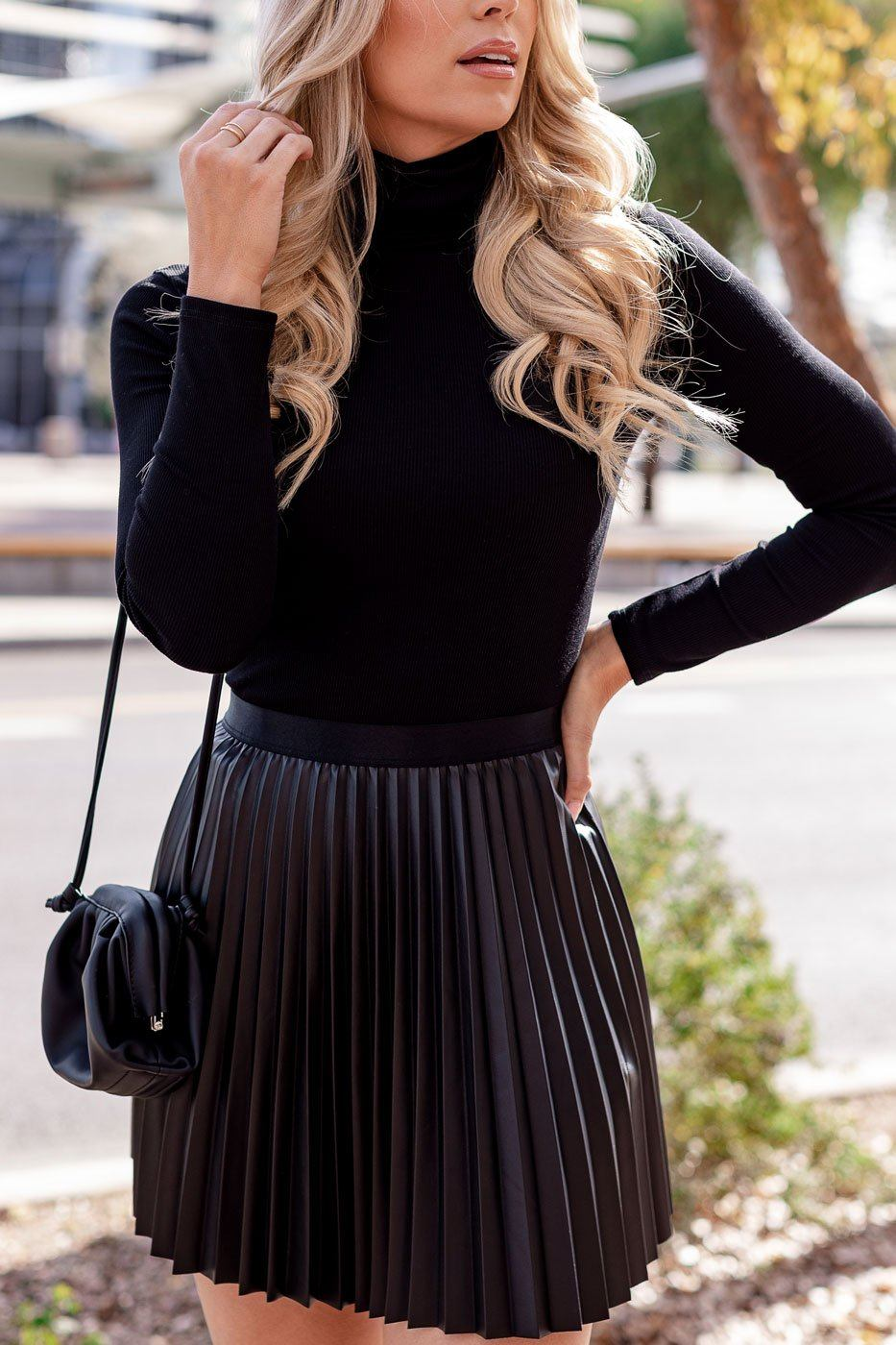 Black Ribbed Turtleneck Bodysuit
