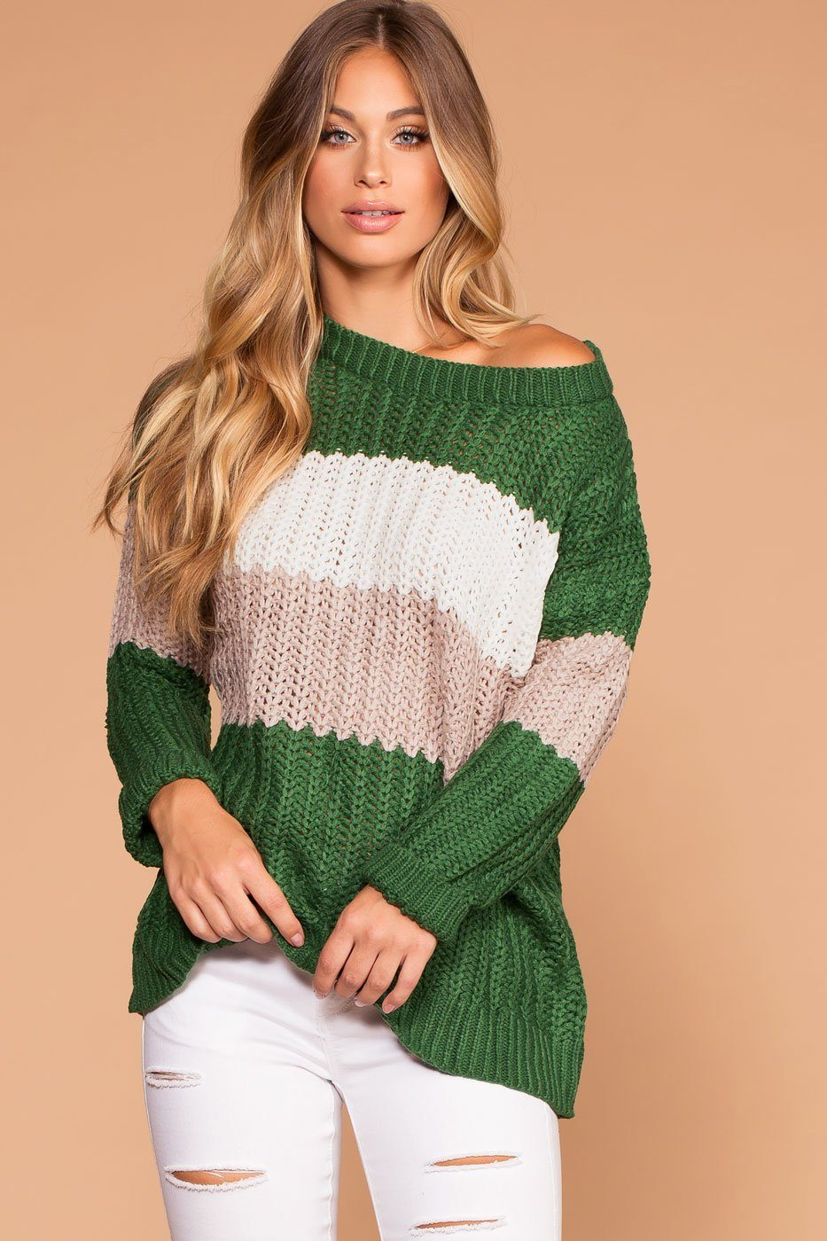 Nostalgic Green Oversize Colorblock Knit Sweater | Shop Priceless