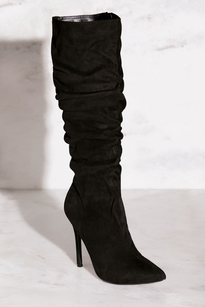 Black Vegan Suede Stiletto Boots