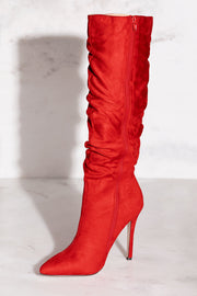 Red Vegan Suede Stiletto Boots