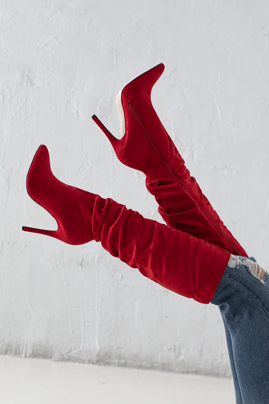 Notorious Red Vegan Suede Ruched Stiletto Boots