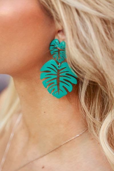 Oasis Teal Monstera Leaf Earrings | Beautysis