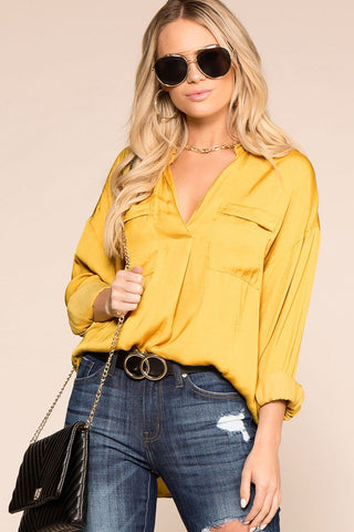 Light Breeze Mustard, Ivory and Navy Colorblock Waffle Knit Top