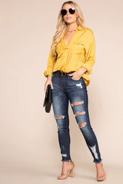 Priceless | Mustard | Satin Top | Long Sleeve | Womens