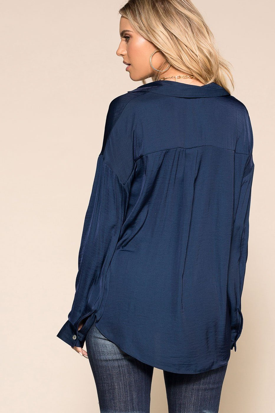 Priceless | Navy | Satin Top | Womens