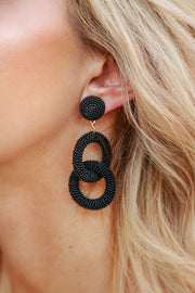 Black Beaded Loop Earrings